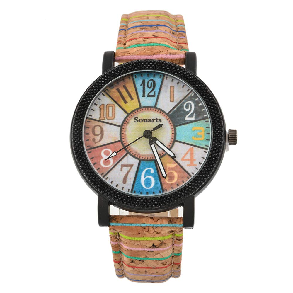 Funique Colorful Fan Shape Quartz Watch Sports Casual Watch with PU Leather Strap (Brown)