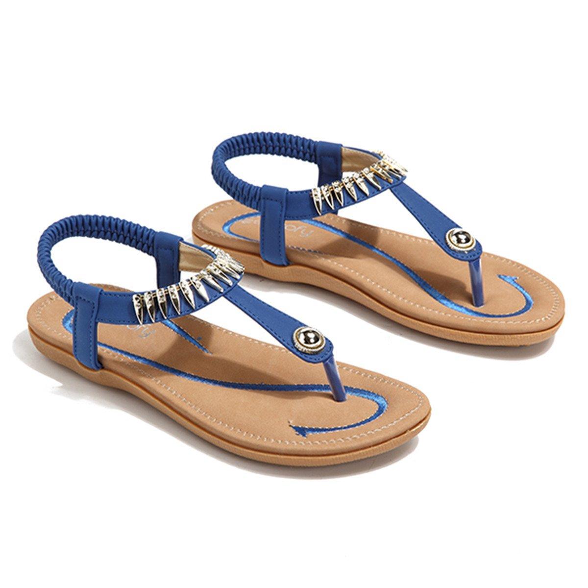 Socofy Bohemian Sandals,Women's Metal Elastic Flat Sandals Summer Bohemia Style Clip Toe Flip Flops Shoes Blue 9 B(M) US by Socofy (Image #5)