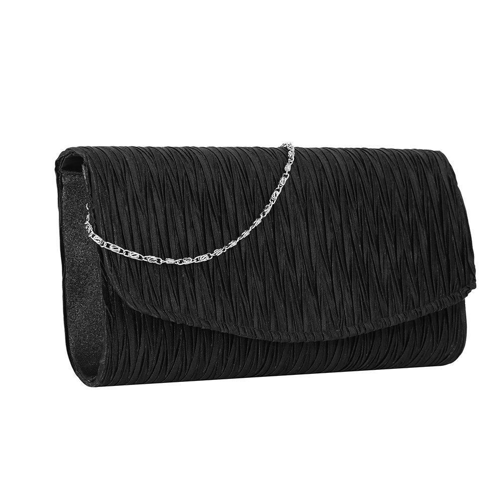 Stjubileens ST. Jubileens Women's Evening Clutch Bag Party Wedding Purse Satin Pleated Envelope Handbag (Black)