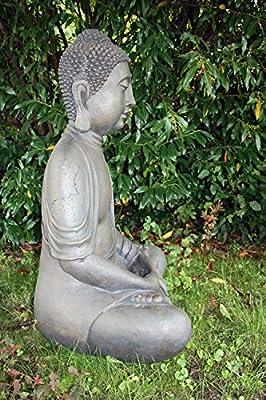 XXL Grande Buda 100 cm Piedra Figura Jardín Figura Decorativa Escultura Feng Shui sentado: Amazon.es: Jardín