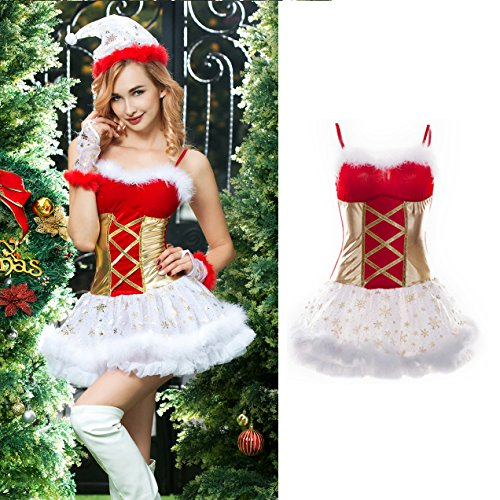 4pcs Sexy Furry Christmas Dress Costume Outfit Fancy Tutu Lingerie Hat (red)
