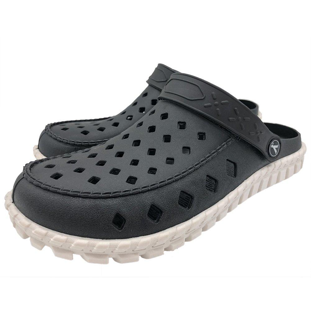 ERGGU Men's Garden Shoes Summer Clogs Comfy Slip on Slippers Go Walk Black&White45