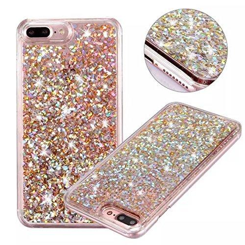 iPhone 7 Plus Case, iPhone 8 Plus Case, KMISS Glitter Star Liquid Flowing Floating Dynamic Luxury Bling Glitter Sparkle Flexible Protective Shell Bumper Case for Apple iPhone 7/8 Plus (Rose Gold) (Ellipsis 8 Case Otter Box)