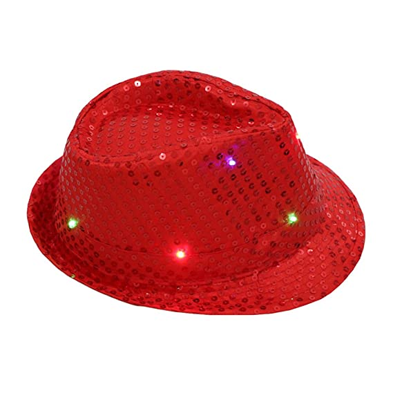 bestoyard – Sombrero fedora Jazz sombrero gorra sombrero con lentejuelas  brillantes LED intermitente sombrero de danza 359f83c2265