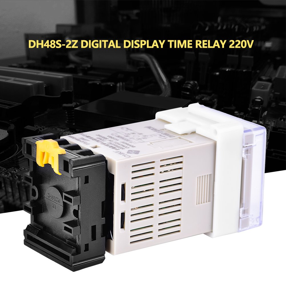 Socket Base Digital Time Relay TOPINCN DH48S-2Z 220V Double Time Delay Relay with Dual Time Display
