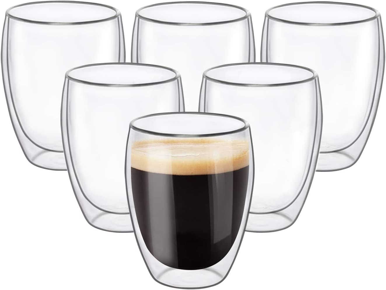 KTMAMA Double Wall Glass Coffee Mugs Set of 6 (12oz/350ml), Glass Cups for Hot Beverages,Thermal Insulated Borosilicate Glass Cups with Handle for Tea, Coffee, Latte, Cappuccino