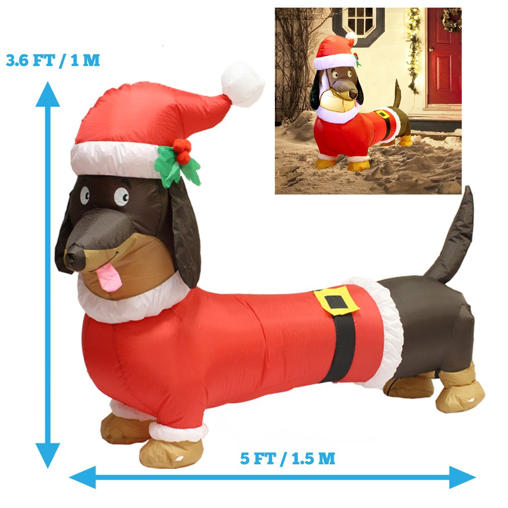 5ft Long Wiener Dog Self-Inflatable with Suit Perfect for Dachshund Blow Up Yard Decoration, Indoor Outdoor Yard Garden Christmas Decoration and Christmas Party Favor Decoration by Joiedomi Joyin Inc