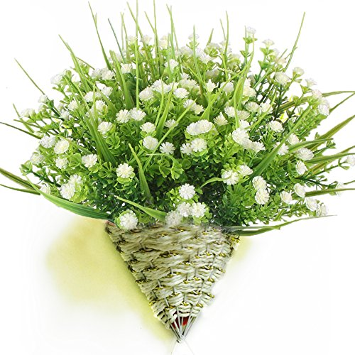Turelifes 4 pcs Artificial Plants 5 Branches Baby's Breath Flowers Real Touch Plastic Shrubs Fake Gypsophila Flowers for Home Wedding Decoration (wihte) (Where To Buy Artificial Trees)