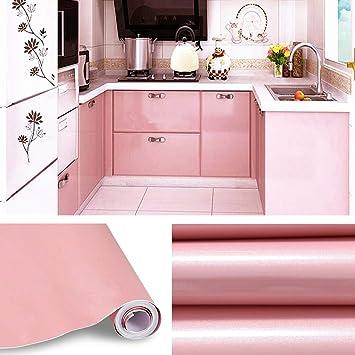 KINLO Aufkleber Küchenschränke rosa 2 Stk. 61x500cm aus hochwertigem PVC  Küchenfolie Klebefolie Tapeten Küche selbstklebende Folie Küche wasserfest  ...