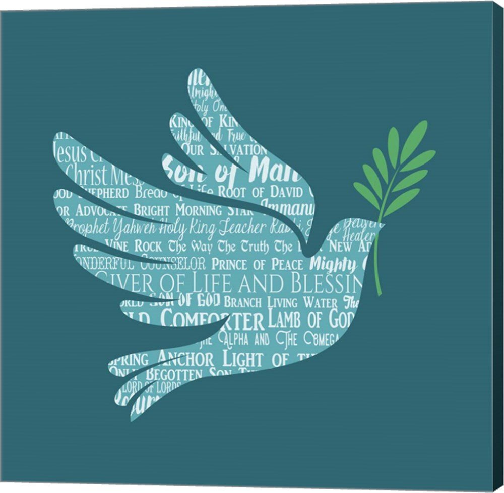 Names of Jesus Dove Silhouette Blue by Inspire Me Canvas Art Wall Picture, Gallery Wrap, 37 x 37 inches
