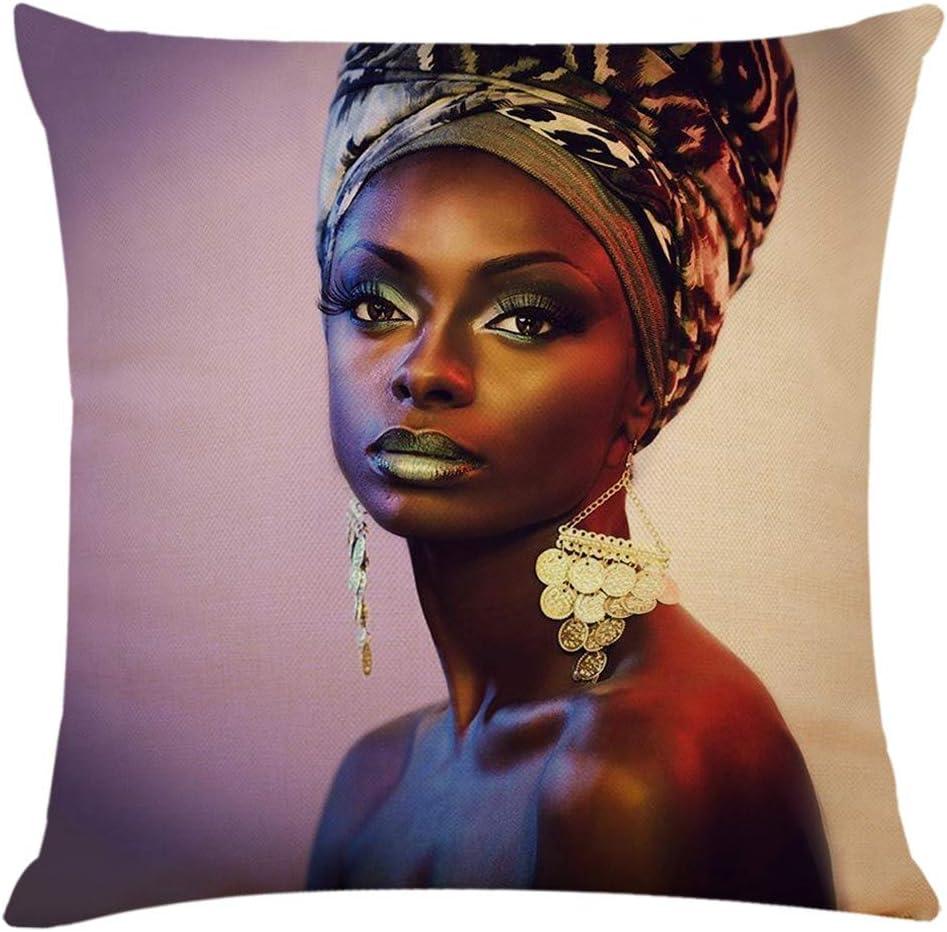 Yogogo Taie doreiller Motif de Femme Africaine 45x45cm Impression sur Une Seule Face Motifs Noir Fille Housse Coussin de Voiture Carr/é Coussin Super Doux pour Maison Salon Chambre Bureau