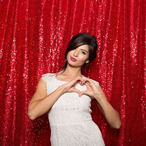 ShinyBeauty 20FTx10FT-Red-Sequin Backdrop, For Party or Wedding Sequin Photo Booth Backdrop,Wedding Backdrop, Photo Backdrop,Glitz Backdrop,Sequin Curtains by ShinyBeauty (Image #4)