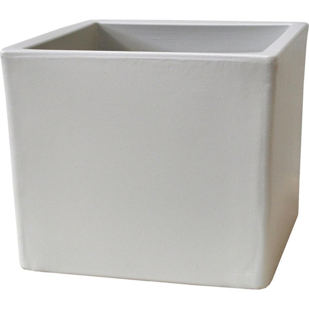 Pride Garden Products Toscana 15 in. White Plastic Cube Patio Planter