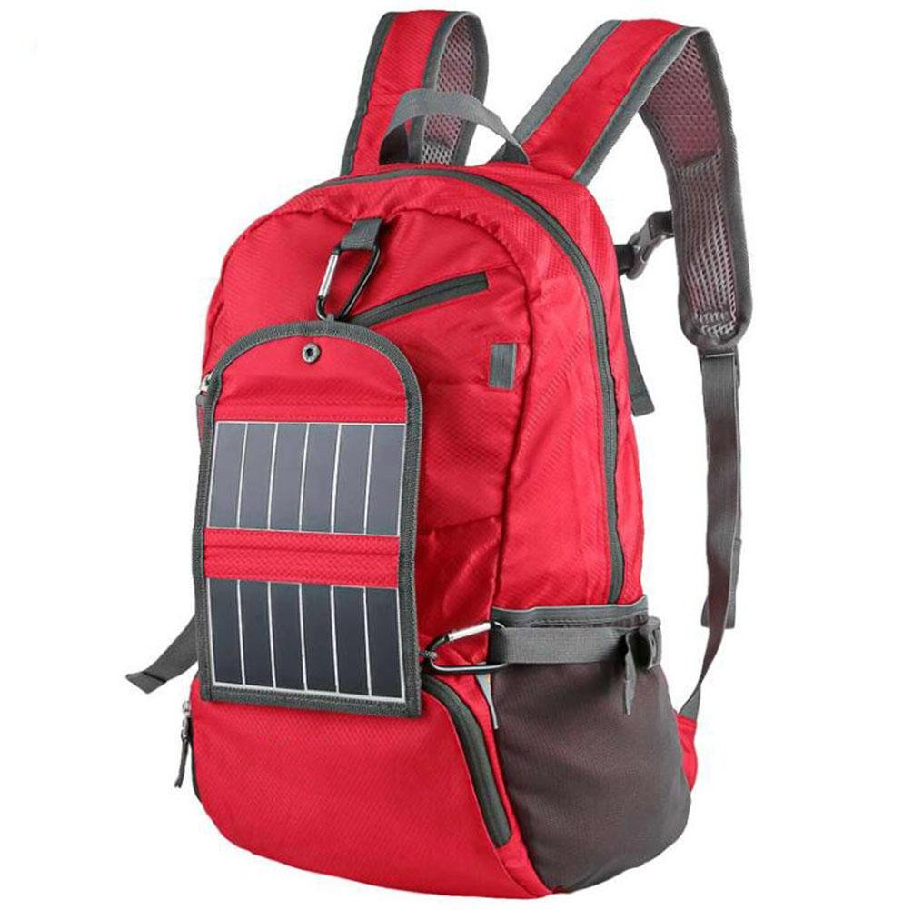 WWQY Super Light Solar Charger Bag, Solar Backpack For Mobile Phone,Cameras 6V Device Include 2000mAh Lithium Battery, red