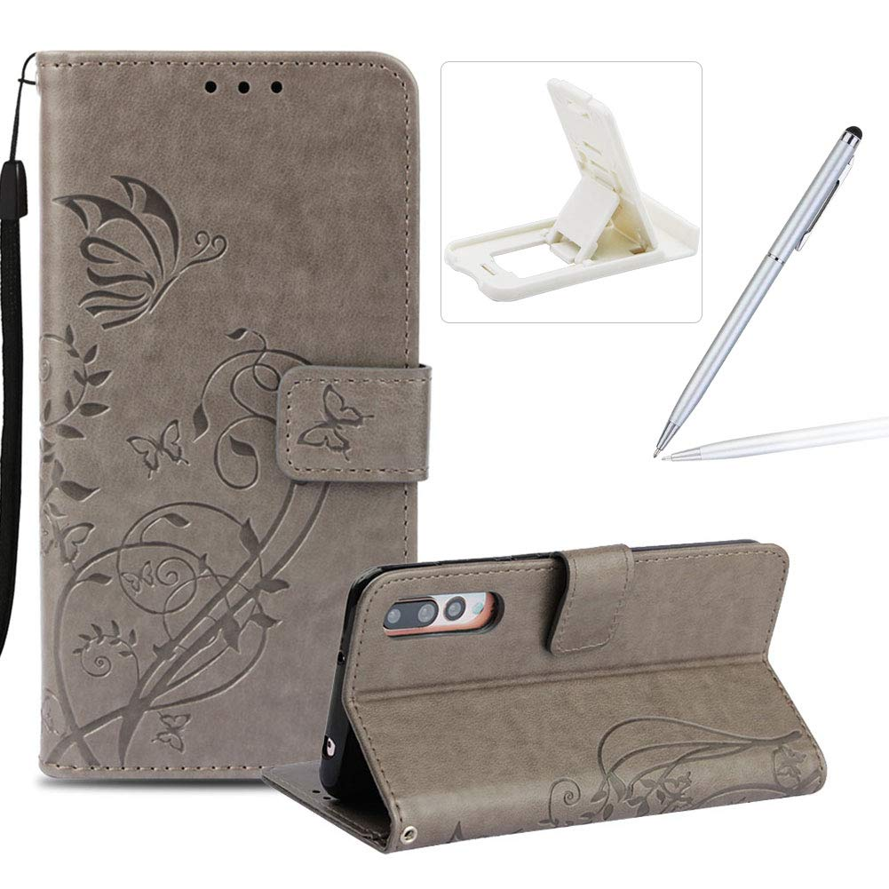 Strap Case for Huawei P20 Pro, Wallet Leather Cover for Huawei P20 Pro, Herzzer Classic Elegant [Brown Butterfly Pattern] PU Leather Fold Stand Card Holders Smart Phone Case for Huawei P20 Pro + 1 x Free Black Cellphone Kickstand + 1 x Free Black Stylus Pe