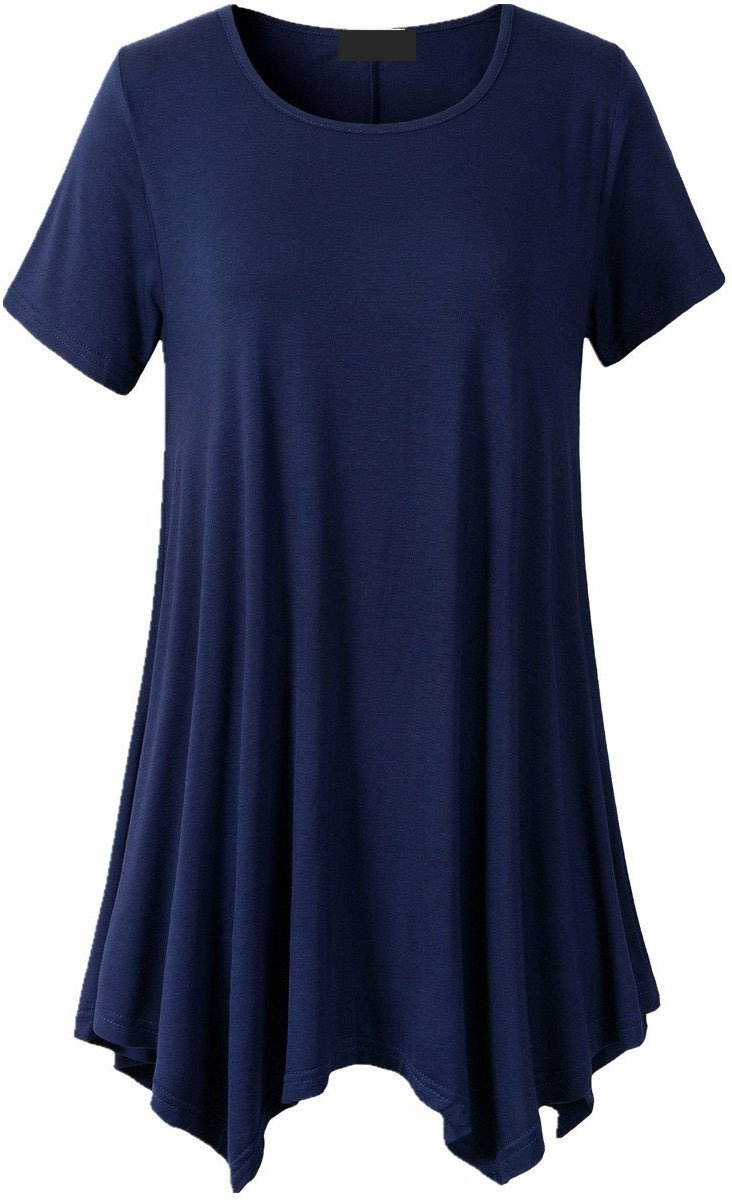 Ovet Womens Medium-Long Style Short Sleeved T Shirt Loose Fit Comfy Flattering Swing Tunic Tops