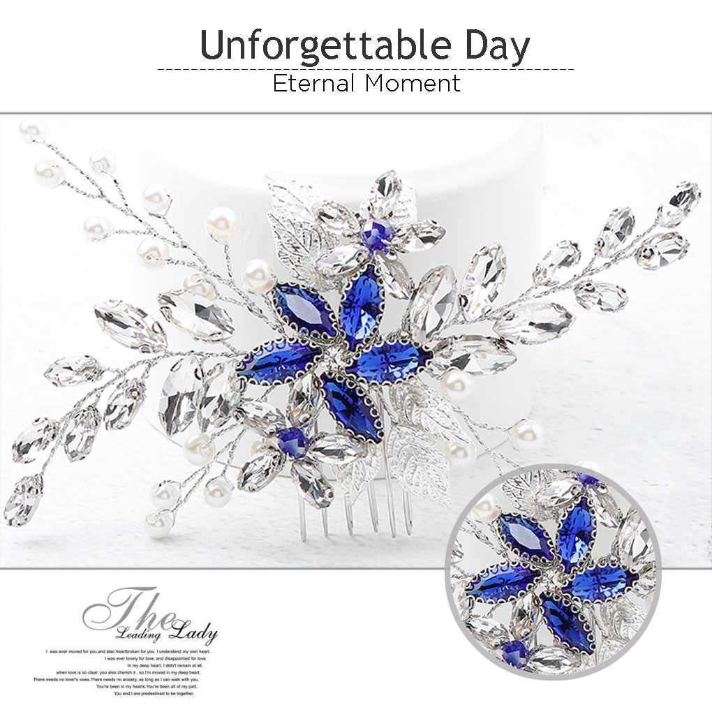 Olbye Wedding Hair Comb Blue Rhinestone Bridal Hair Accessories for Bride and Bridesmaids Wedding Hair Piece Silver by Olbye (Image #3)