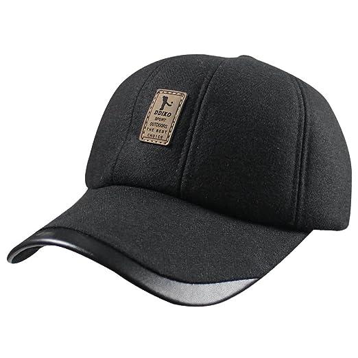 52d3e99d3ec Gentlemen Winter Wool Fleeced Outdoor Sports Baseball Caps Hats with Ear  Warmers