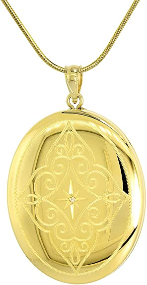 """18/"""" Snake Chain Sterling Silver Large Diamond Cut Octagon Photo Locket Necklace"""