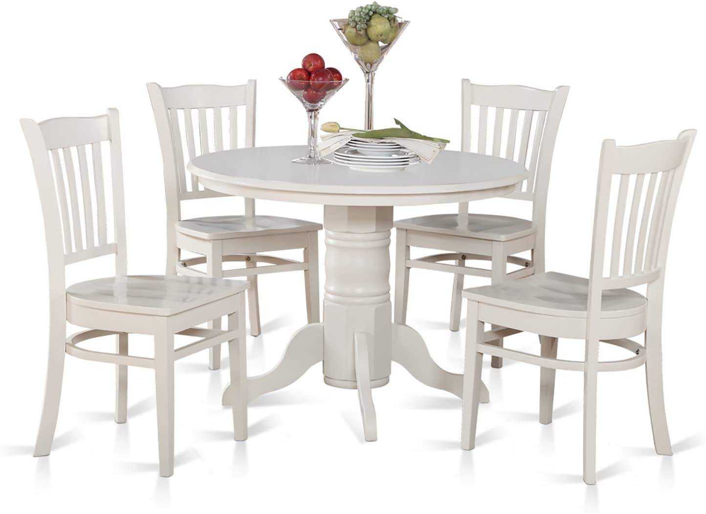 East West Furniture SHGR5-WHI-W 5-Piece Kitchen Table and Chairs Set  sc 1 st  Amazon.com & Table u0026 Chair Sets | Amazon.com islam-shia.org
