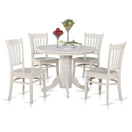 Amazon.com: East West Furniture SHGR5-WHI-W 5-Piece Kitchen Table ...