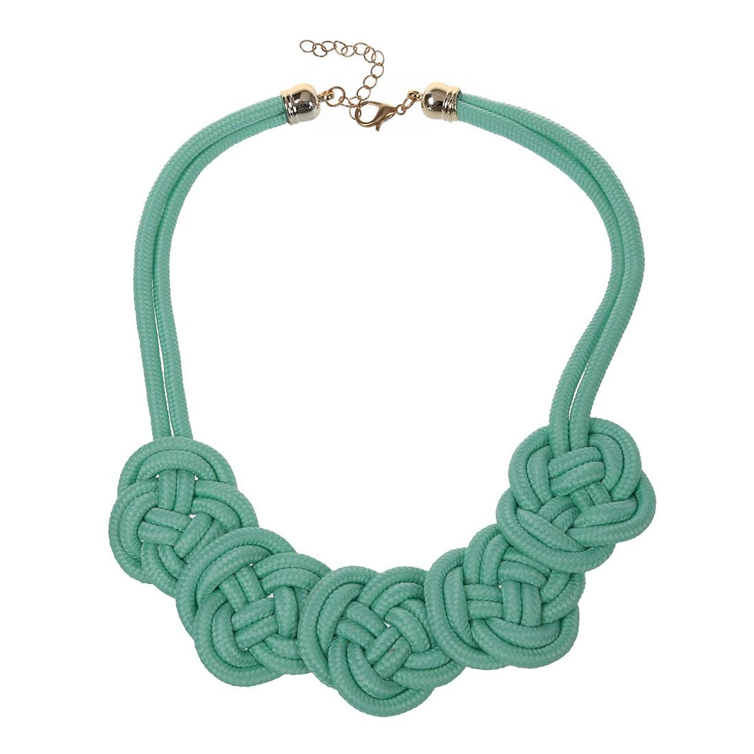TOOGOO(R) Bright Neon Knot Fabric Statement Collar Necklace - Green