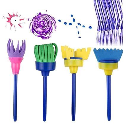 Set Of 4pcs Sponge Paint Roller Brush Diy Children Painting Brushes Kid Art Craft Painting Tool Professional Design Painting Supplies