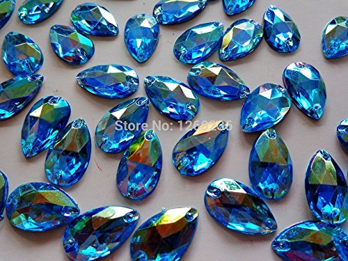 Sew on Acrylic Crystal Beads Gemstone Hand Sewing Rhinestonem 11X18mm 150pcs (Ab Gemstone)