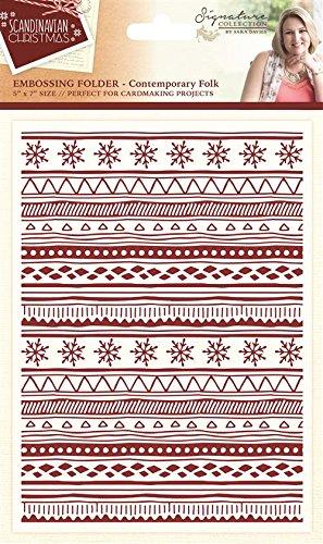 Sara Signature Collection Scandinavian Christmas cartella–contemporaneo folk, trasparente Crafter' s Companion S-SX-EF-CF
