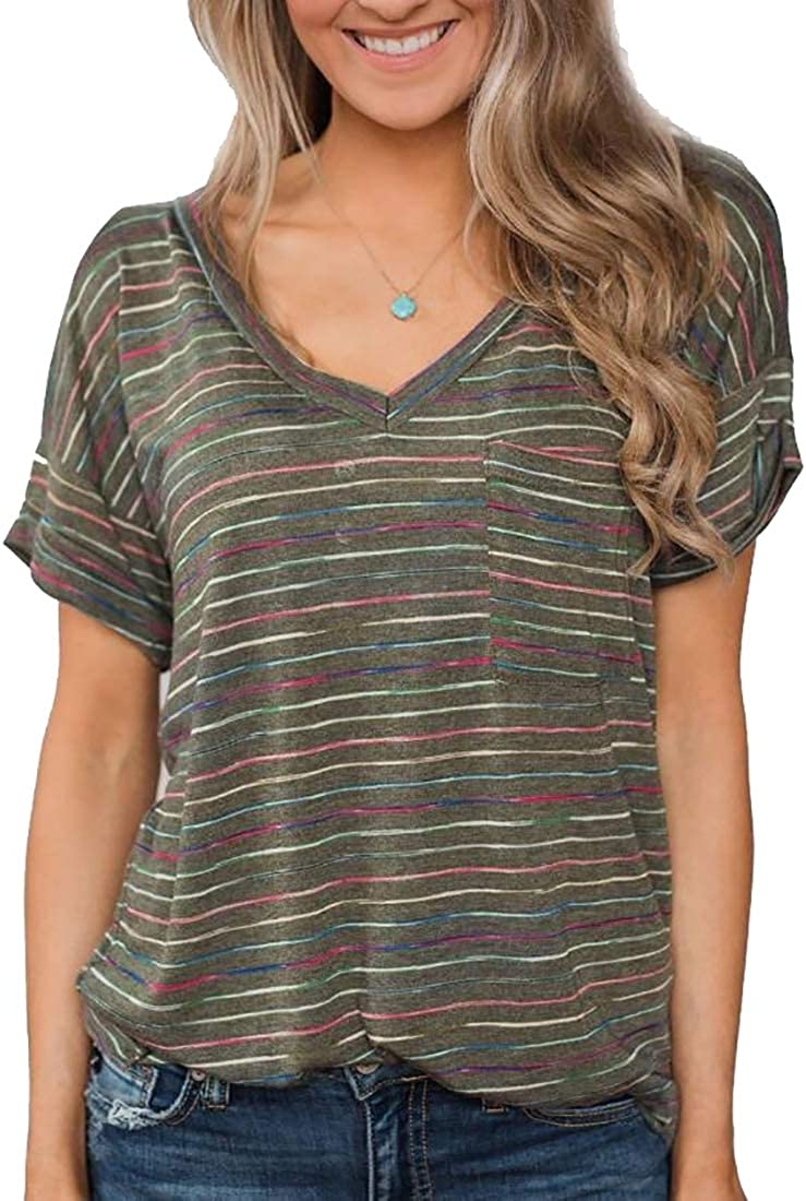 M/&S/&W Womens Short Sleeve V-Neck Shirts Stripe Loose Casual Tee T-Shirt