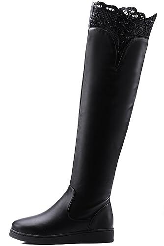b055fc6e Botas altas de rodilla Mujer Otoño Invierno Planas Negro Bordado Encaje  Caliente Sobre la rodilla botas De BIGTREE: Amazon.es: Zapatos y  complementos