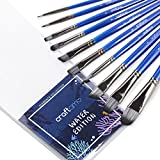 Craftamo Paint Brush Set. 10 Professional Paint Brushes for Artists. Use as Watercolour Brushes, Acrylic Paint Brushes, Oil Paint Brushes and Face Paint Brushes.