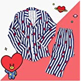 StMandy Pijamas a Rayas BTS Pijamas divididos Unisex