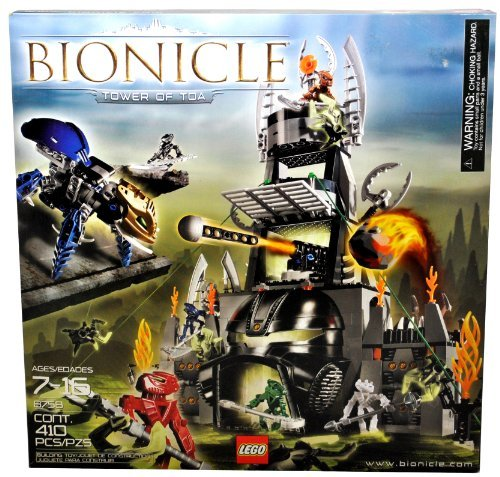 Lego Year 2005 Bionicle Series Set # 8758 - TOWER OF TOA with Kahgarak with Blunt Shooter to Knock Over the Tower, Hidden Doors, Rhotuka Spinner Launcher, 7 Mini Visorak -