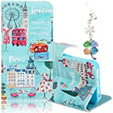"""iPhone 6 Plus 6S Plus 5.5"""" Case, Boince 2 in 1 Accessory Book Style Magnetic Snap Colorful Drawing Graffiti Pattern [Shock Absorbent] Folio Flip Leather Case Soft TPU Stand Cover with Card Slots + Diamond Four Leaves Clover Antidust Plug, Cities"""