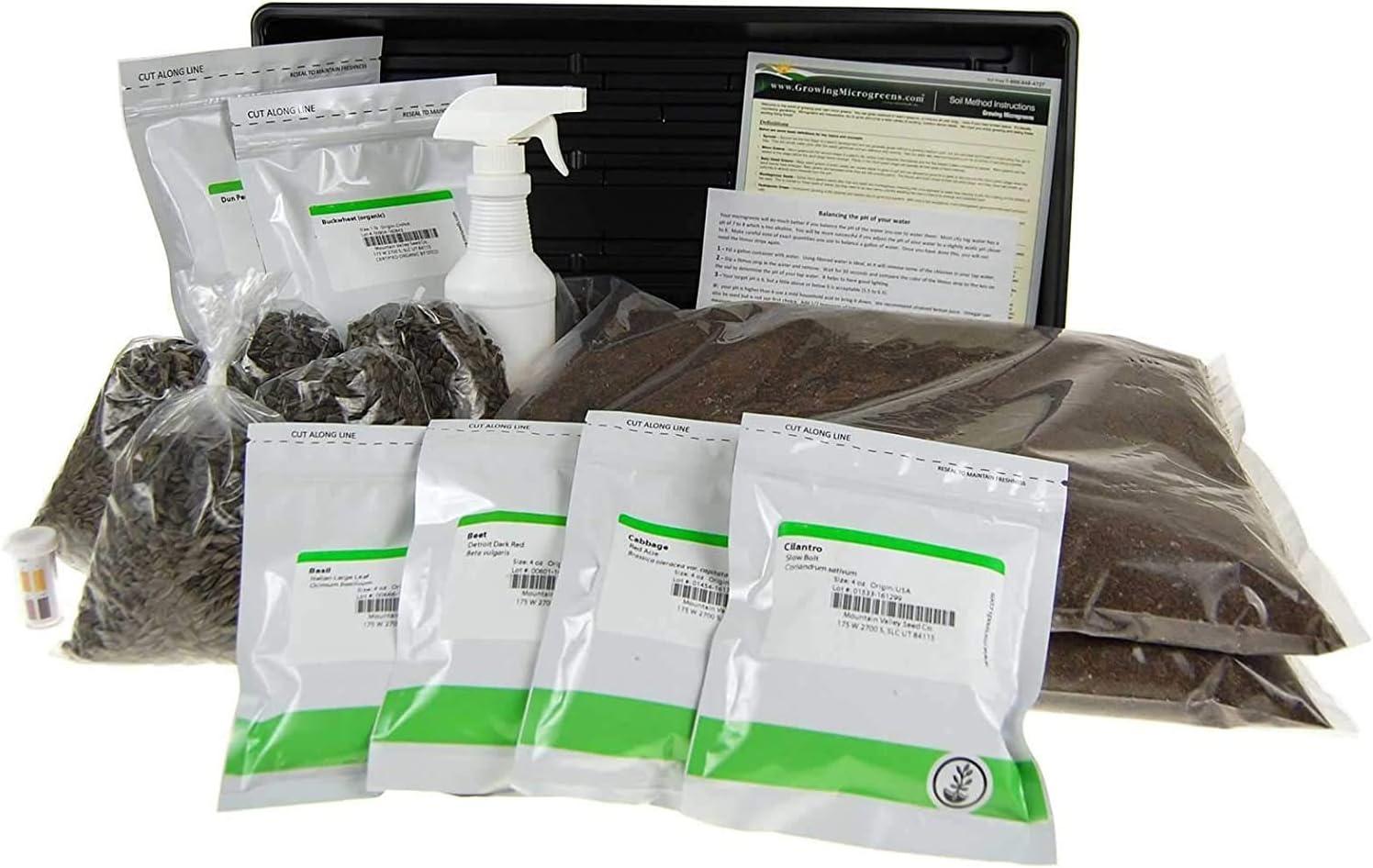 Microgreens Growing Kit - Grow Micro Greens & Baby Salad - Soil Based Indoor Garden: Sunflower, Buckwheat, Pea & More