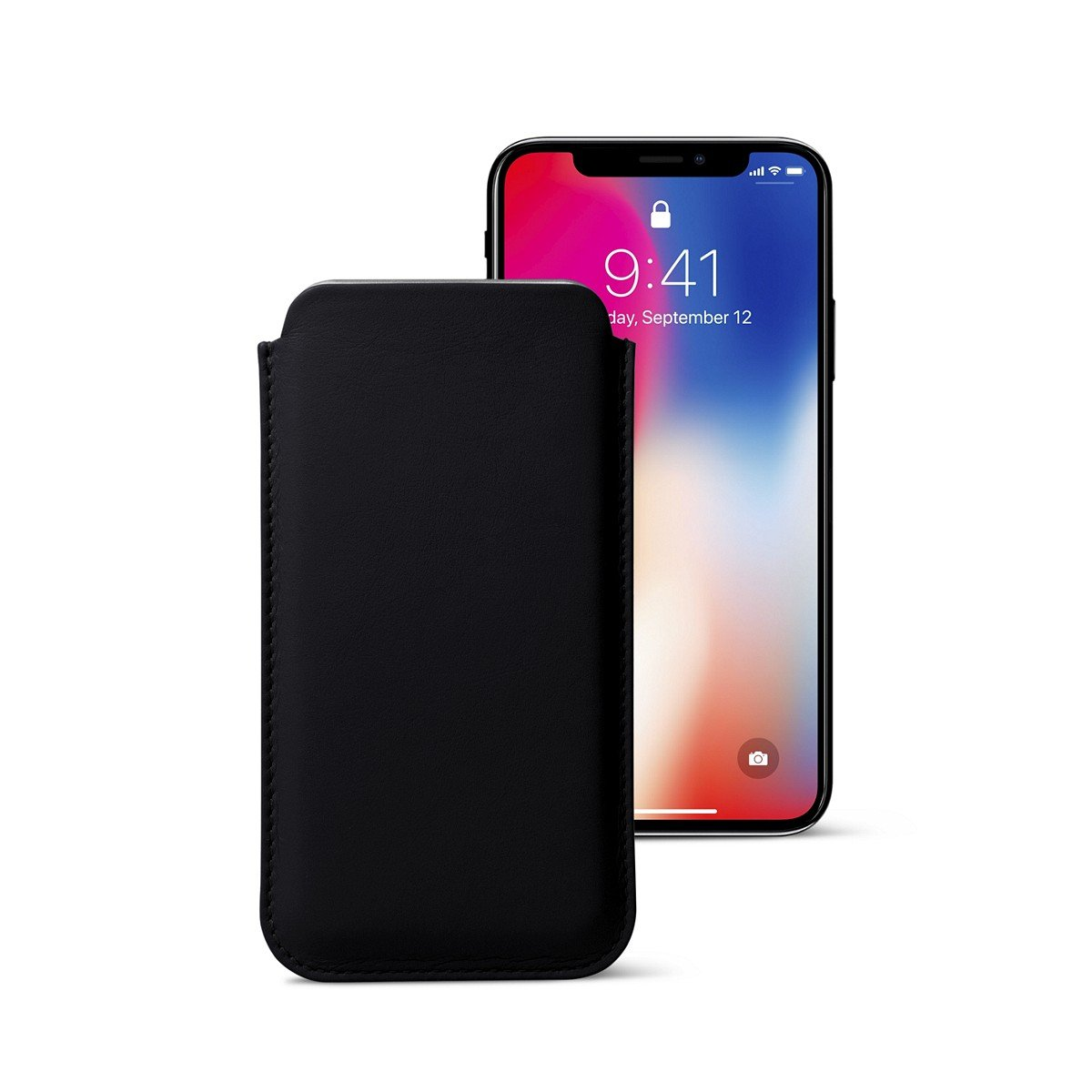 Lucrin - Classic Case for iPhone X - Black - Smooth Leather