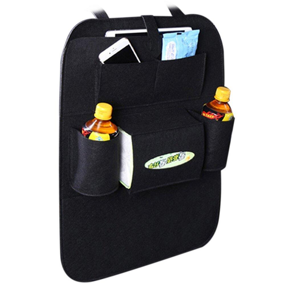 Standard Car Seat Back Organizer Storage Bag Multi-Pocket Travel Bag Multi-Pocket 2Usb Charger Phone Storage Universal Felt And Backseat Protector Auto Accessories Beige