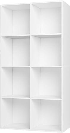Homfa Estantería Librería Estantería para Libros Estantería de Pared Estantería Almacenaje con 8 Compartimentos Blanco 65.5x29.6x128cm
