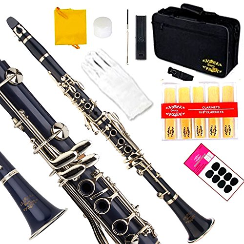 Glory Dark Blue/Silver Keys Bb B Flat Clarinet with Second Barrel, 11reeds,8 Pads cushions,case,carekit -Click to see More Colors by GLORY