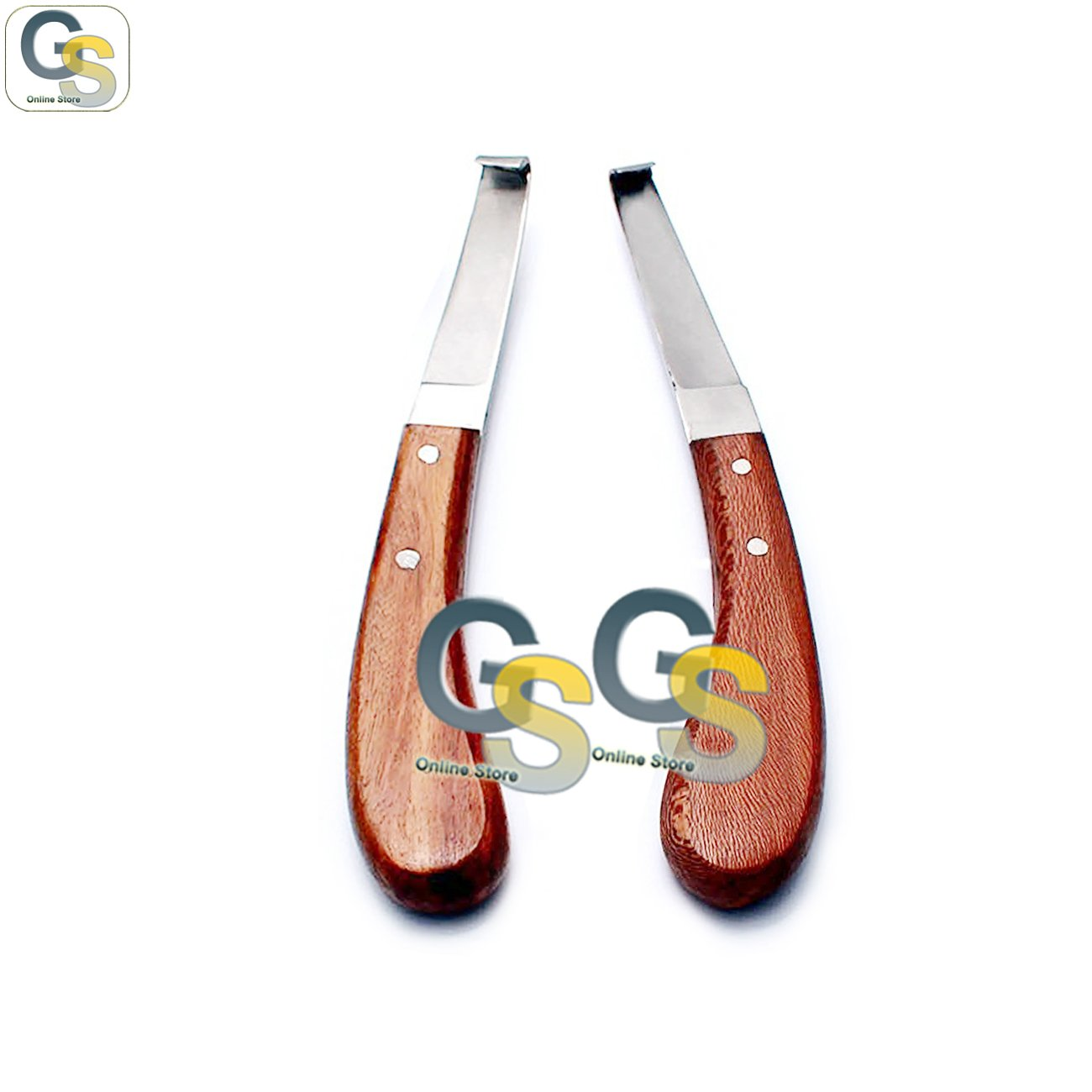 G.S HOOF KNIFE VETERINARY LEFT & RIGHT HANDED WOODEN HANDLE STAINLESS STEEL BLADE