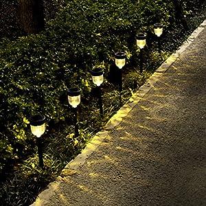 Solar Lights Outdoor,YUNLIGHTS 6 Pack Solar Pathway Lights Garden Solar Lights for Lawn, Yard, Patio, Driveway, Walkway, Warm White