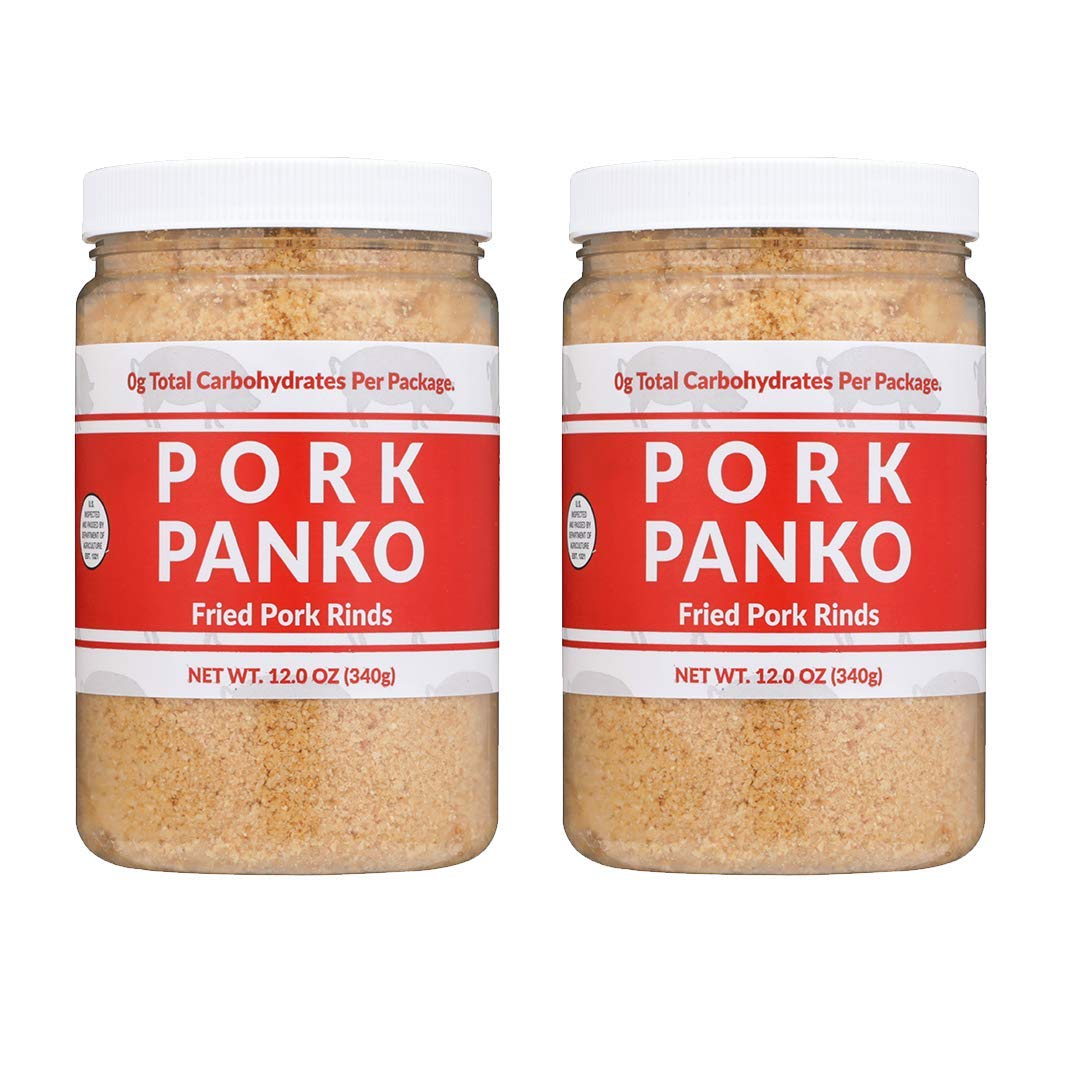 Pork Panko - Pork Rind Crumbs - 12oz Resealable Jar - 2 Pack - Naturally Gluten Free and Carb Free, Keto Friendly, Crispy Topping, Paleo Crab Cakes, Keto Meatloaf, Pork Chop Breading
