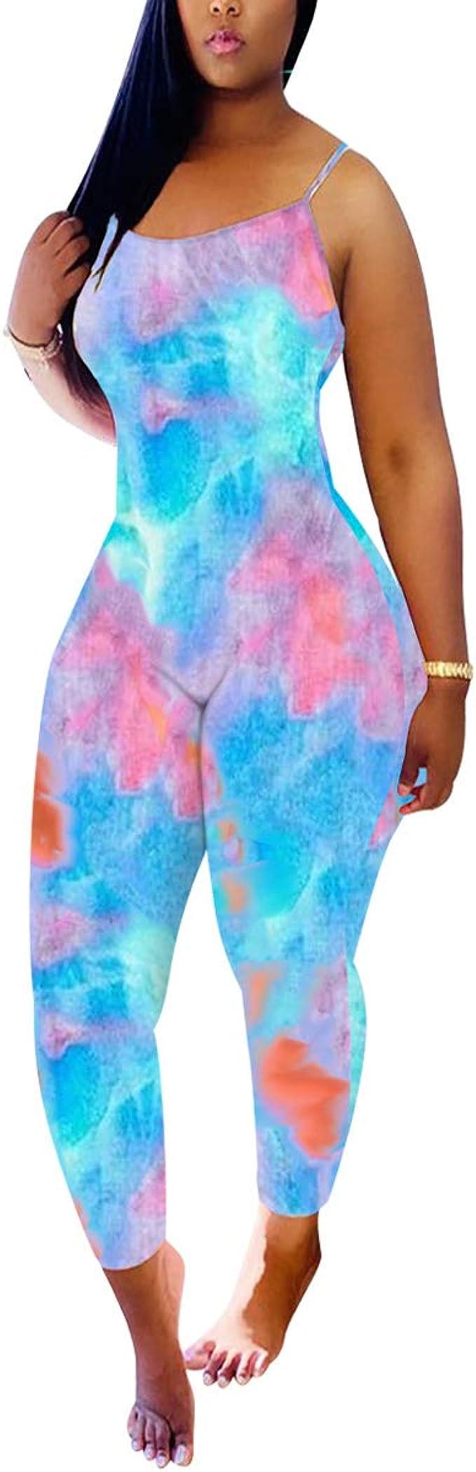 NEW Women Stylish Sleeveless Tie Dye Print Drawstirng Bodycon Jumpsuit 2pcs