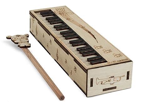 Porte crayons en bois piano standard fait main beige 4cm x 21cm x