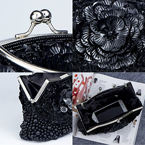 Bag Handbag Pearl Bags Women's Shoulder Bridal Wedding Clutches Beaded Bagood Black Evening Flower Prom for Purses AvqWnaW4c