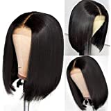 Brazilian Virgin Short Straight Bob Lace Front Wigs Human Hair Pre Plucked with Baby Hair 150% Density 4x4 Short Bob…