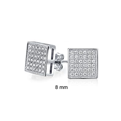 5015633cb Image Unavailable. Image not available for. Color: Square Shaped Cubic  Zirconia Colorless Micro Pave CZ Stud Earrings 925 Sterling Silver 8mm