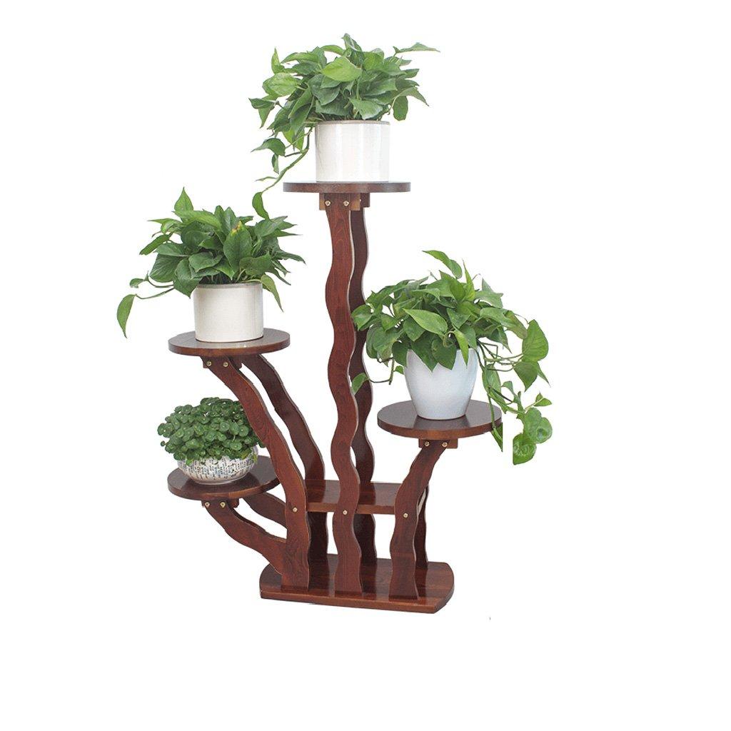QING MEI マルチレイヤー木製ヨーロッパの花のスタンドのポットラックプラントフレームソリッドウッドフラワースタンドリビングルームのインテリアバルコニーフロア A+ B07JC475PX