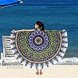 Adventure Full Roundies Mandala Bohemian Boho Handmade 72 Inches Decorative Indian Art Wall Hanging Tapestry, Beach Throw, Picnic Mat & Table Cloth by FASHUE